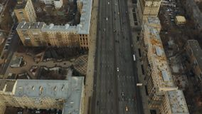Aerial view of Kutuzovsky Prospekt avenue and government White House in Moscow, Russia. Aerial view of Kutuzovsky Prospekt avenue and government White House in stock video
