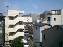 Aerial view of Kyoto downtown from balcony Royalty Free Stock Image