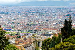 View of Bogota, Colombia Historic District. Aerial view of La Candelaria, the historic neighborhood of Bogota, Colombia royalty free stock image