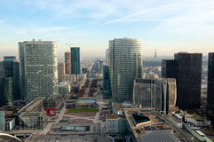 Aerial view of La Defense business district. Aerial view of skyscrapers from La Defense business district, Paris Royalty Free Stock Photography