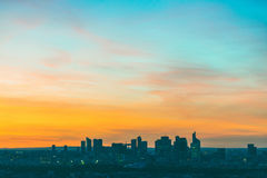 Aerial view of La Defense in Paris at sunset Royalty Free Stock Photos