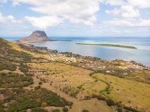 Aerial view of La Gaulette, popular kitesurfing tourist town with Le Morne Brabant mountain, the World Heritage UNESCO royalty free stock image