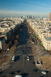 Aerial view of La Grande Armee Avenue from Arc de Triomphe. View  of La Grande Armee Avenue from Arc de Triomphe with business district La Defense in the Stock Photos