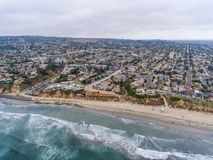Aerial view of La Jolla Palisades park, San Diego, CA stock photo