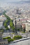 Aerial view of La Rambla near the waterfront with Columbus statue in Barcelona, Spain Royalty Free Stock Images