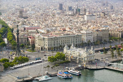 Aerial view of La Rambla near the waterfront with Columbus statue in Barcelona, Spain Royalty Free Stock Image