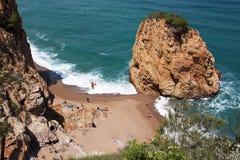 Aerial view of La Roca Roja beach in La Costa Brava region. Royalty Free Stock Photography