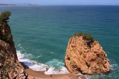 Aerial view of La Roca Roja beach in La Costa Brava region. Royalty Free Stock Photo