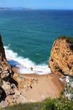 Aerial view of La Roca Roja beach in La Costa Brava region. Royalty Free Stock Image