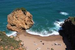 Aerial view of La Roca Roja beach in La Costa Brava region. Royalty Free Stock Photos