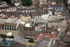 Aerial view of La Ronda, Quito Old Town royalty free stock photography