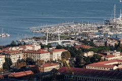 Aerial view of la spezia. A beautiful town in italy royalty free stock photography