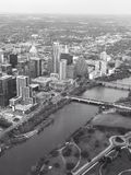 Aerial view of Lady Bird Lake and Austin Texas. A black and white aerial view of downtown Austin Texas and Lady Bird Lake royalty free stock photos