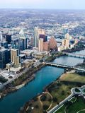 Aerial view of Lady Bird Lake and Austin Texas. An aerial view of downtown Austin Texas and Lady Bird Lake stock images