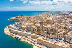 Aerial view of Lady of Mount Carmel church, St.Paul`s Cathedral in Valletta city, Malta