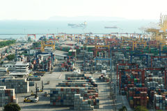 Aerial view of Laem chabang cargo container port in Thailand use Royalty Free Stock Photo