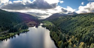 Aerial view of Laggan with swing bridge in the Great Glen above Loch Oich in the scottish highlands - United Kingdom royalty free stock images