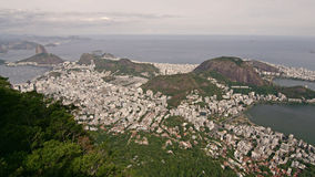 Aerial View of Lago de Rodrigo Freitas Lagoon and distant Sugar Loaf Stock Photography