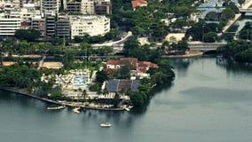 Aerial View of Lago de Rodrigo Freitas Lagoon. Rio de Janeiro, Brazil royalty free stock photo