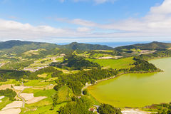 Aerial view on Lagoa das Furnas countryside on Sao Miguel Island, Portugal. Stock Photography