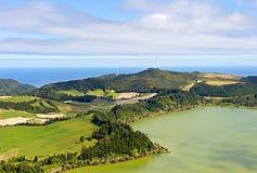Aerial view on Lagoa das Furnas countryside on Sao Miguel Island, Portugal. Stock Photos