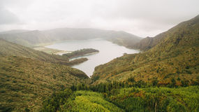 Aerial view of Lagoa do Fogo, a volcanic lake in Sao Miguel, Azores Islands Royalty Free Stock Photos