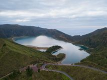 Aerial view of Lagoa do Fogo, a volcanic lake in Sao Miguel, Azores Islands. Portugal landscape. Taken by drone. Amazing tourist attraction stock photography