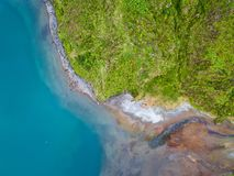 Aerial view of Lagoa do Fogo, a volcanic lake in Sao Miguel, Azores Islands. Portugal landscape. Taken by drone. Amazing tourist attraction stock photo