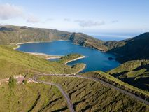 Aerial view of Lagoa do Fogo, a volcanic lake in Sao Miguel, Azores Islands. Portugal landscape taken by drone.  Amazing tourist a