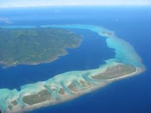 Aerial view on lagoon, French Polynesia Royalty Free Stock Photos