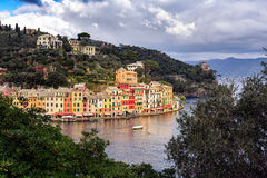 Aerial view on lagoon near Portofino town in Liguria, Italy. Royalty Free Stock Images