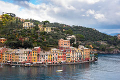 Aerial view on lagoon near Portofino town in Liguria, Italy. Royalty Free Stock Photography