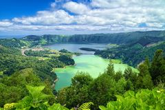 Lagoon of the Seven Cities, Sao Miguel island, Azores. Aerial view of Lagoon of the Seven Cities Portuguese: Lagoa das Sete Cidades, located on Sao Miguel island stock photography