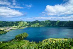 Lagoon of the Seven Cities, Sao Miguel island, Azores. Aerial view of Lagoon of the Seven Cities Portuguese: Lagoa das Sete Cidades, located on Sao Miguel island royalty free stock images