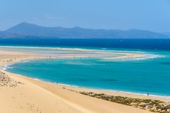 Aerial view of the lagoon on Sotavento Beach in Fuerteventura, S. Aerial view of the lagoon on Sotavento Beach in Fuerteventura, Canary Islands, Spain stock photo
