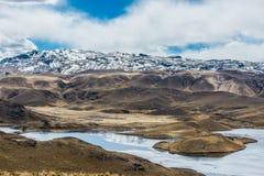Aerial view Lagunillas peruvian Andes at Puno Peru Stock Images