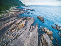 Aerial View of Lailai Coast Geological Area - Northeast and Yilan Coast National Scenic Area. Coast landscape birds eye top view use the drone, shot in Gongliao Stock Photography
