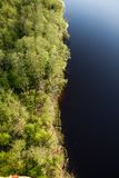 Aerial view of a lake. Shore Royalty Free Stock Image