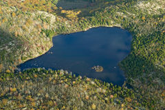 Aerial view of lake in autumn, Acadia National Park, Maine Royalty Free Stock Images