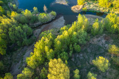 Aerial view on the lake Royalty Free Stock Photos