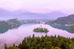 Lake Bled seen from Little Osojnica Hill stock photos