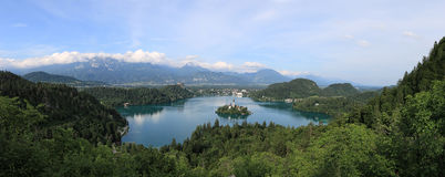 Aerial view of lake Bled at sunset with a view of the island church and the castle. Royalty Free Stock Photos