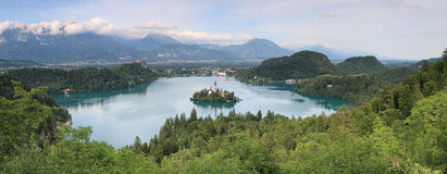 Aerial view of lake Bled at sunset with a view of the island church and the castle. Stock Photography