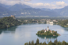 Aerial view of lake Bled at sunset with a view of the island church and the castle Stock Images