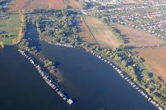 Aerial view -  Lake Bokodi Hútóto Royalty Free Stock Photos