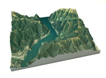 Aerial view of Lake Como, Laglio and surrounding areas map in 3d Royalty Free Stock Photos