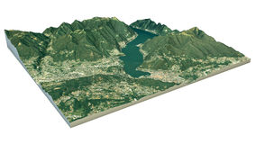 Aerial view of Lake Como and the surrounding area map in 3d Stock Images
