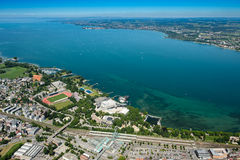 Aerial view of lake constance with Bregenz an lake stage Stock Photography
