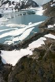 Aerial view of lake in the Denver Glacier Stock Images
