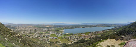 Aerial view of Lake Elsinore. And the cityscape, California royalty free stock photos